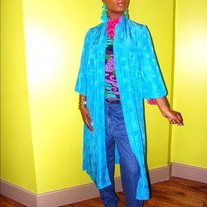 Vintage Cheongsam Kimono Open Front Duster Sz S/M
